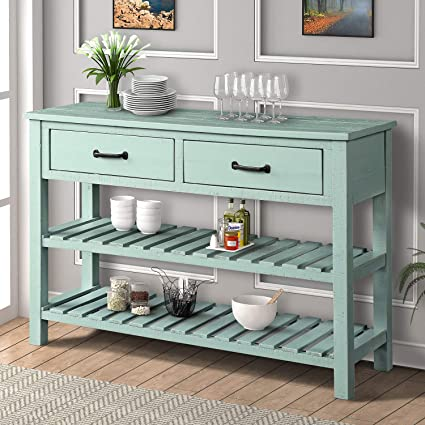 Retro Console Table For Entryway Sofa Table With 2 Drawers And 2 Tiers Shelves Bathroom Living Room Furniture Antique Blue