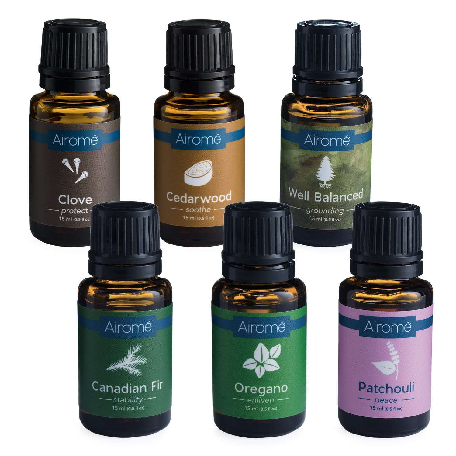 Airomé Essential Oil Grounding Warmth Bundle, Set of Six 15 ml Therapeutic Grade Essential Oils | Patchouli, Cedarwood, Well Balanced Blend, Canadian Fir, Oregano and Clove by Airomé