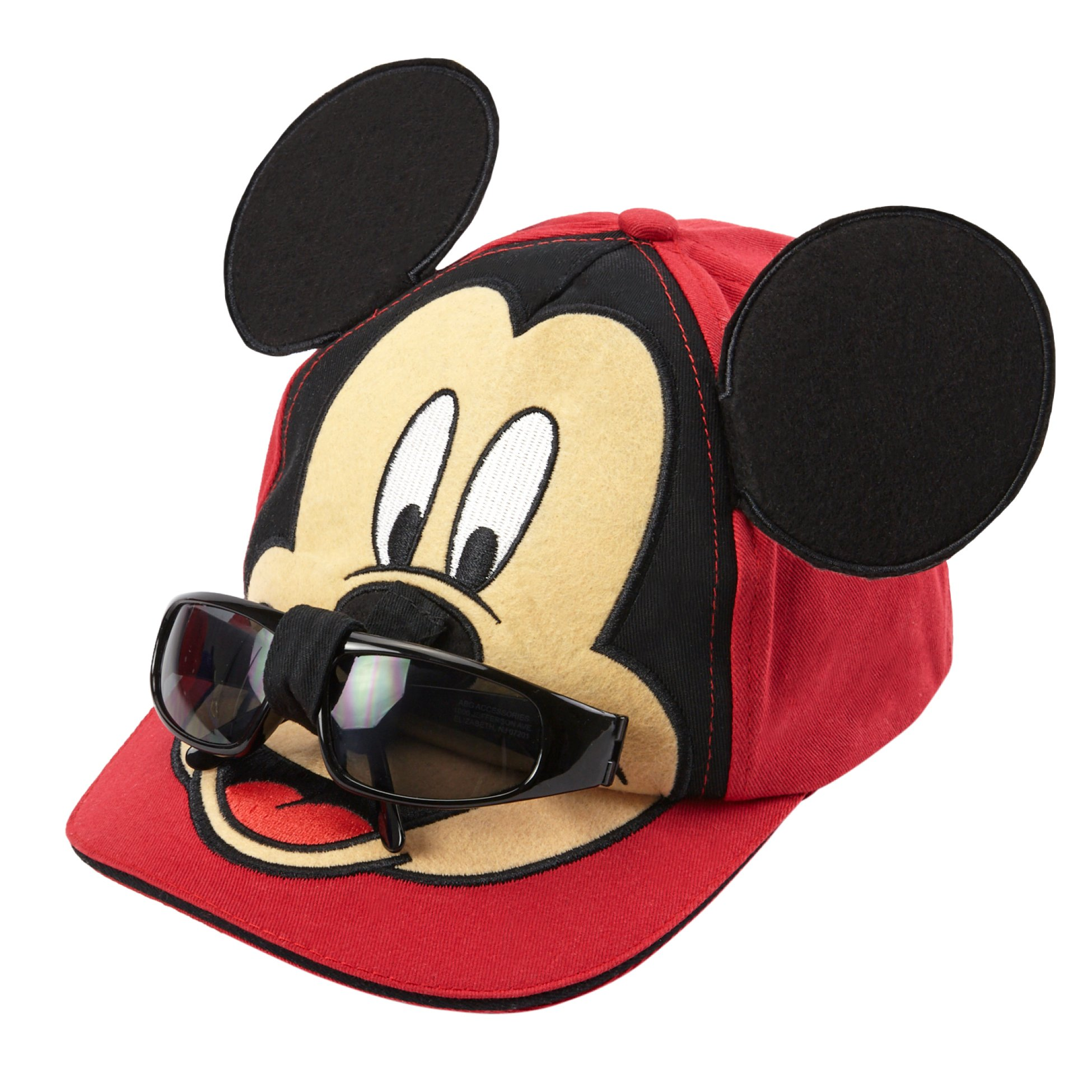 Disney Boys Mickey Mouse Cotton Baseball Cap - 100% Cotton (Red with Removable Sunglasses)