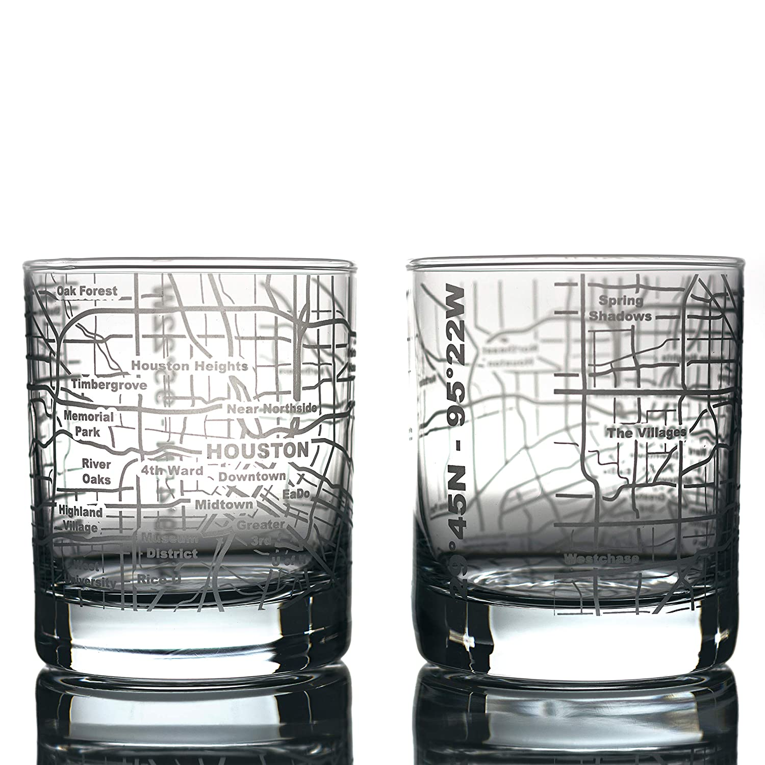 Greenline Goods Whiskey Glasses - 10 Oz Tumbler Gift Set for Houston lovers, Etched with Houston Map   Old Fashioned Rocks Glass - Set of 2