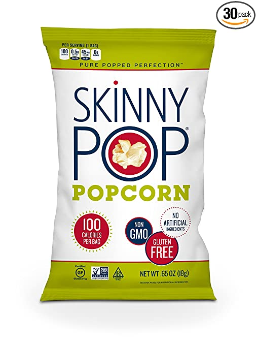 SKINNYPOP Original Popped Popcorn, 100 Calorie Bags, Individual Bags, Gluten Free Popcorn, Non-GMO, No Artificial Ingredients, A Delicious Source of Fiber, 0.65 Ounce (Pack of 30)