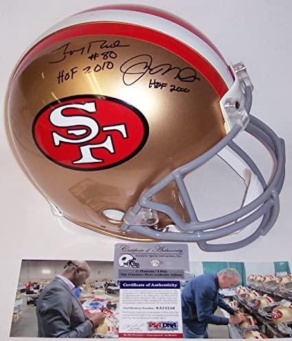 69ded1c5a1c Jerry Rice & Joe Montana Autographed Hand Signed San Francisco 49ers  Throwback Full Size Authentic Football