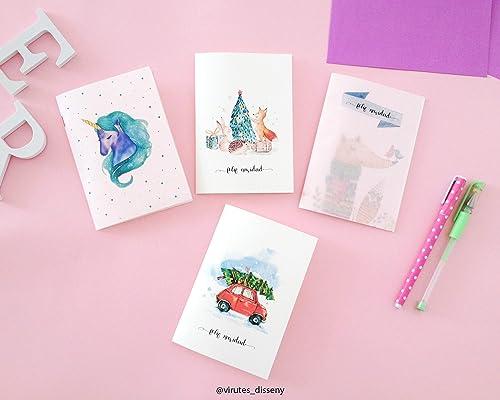 Tarjetas de navidad, set de 4 tarjetas diferentes, conjunto ...