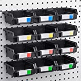 """Pegboard Bins - 12 Pack - Hooks to 1/4"""" or 1/8"""" Hole Peg Board - Organize Hardware, Accessories, Attachments, Workbench, Garage Storage, Craft Room, Tool Shed, Hobby Supplies, Small Parts"""