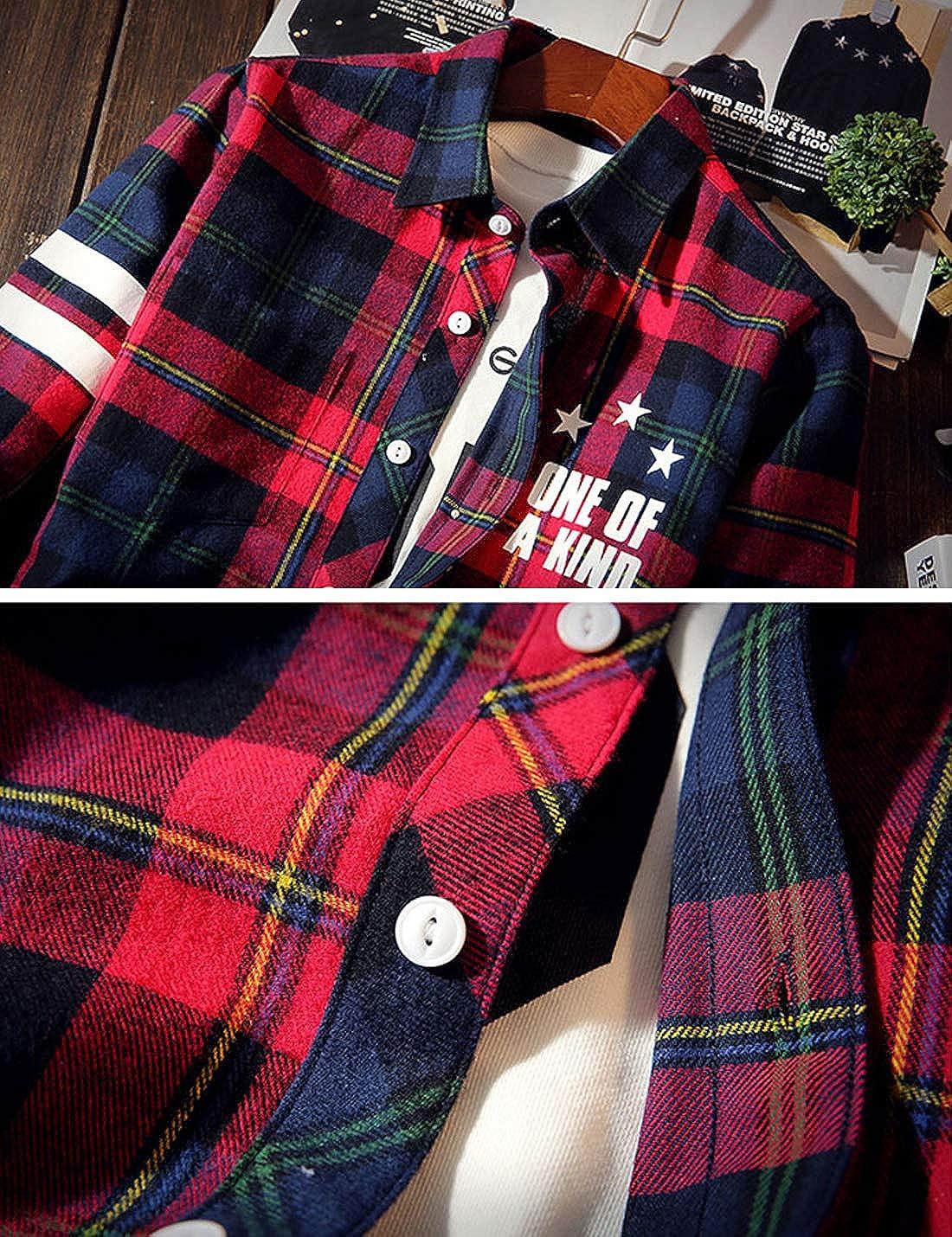 Liengoron Mens Casual Long Sleeve Lapel Lattice Button Cotton Shirt Cardigan Silm
