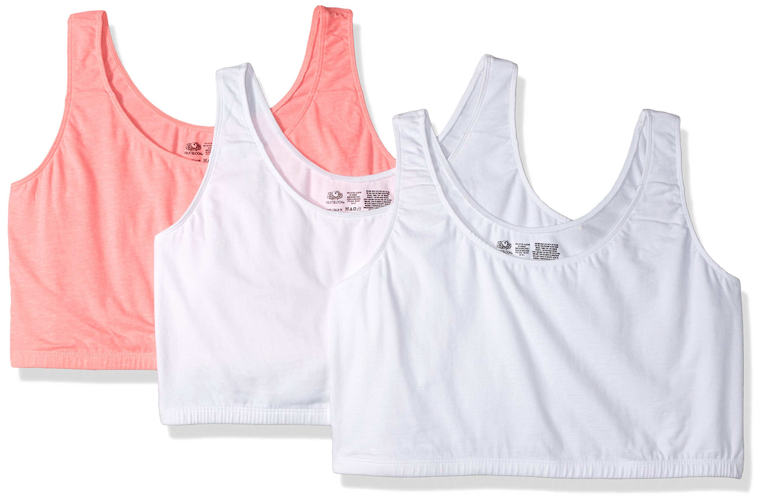Fruit of the Loom Women's Built-Up Sports Bra, White/Popsicle Pink-3 Pack, 48 by Fruit of the Loom