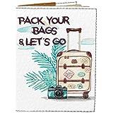 Passport Cover - Holder for Men Women Kids - Designer Vegan Leather Travel Case (Pack Your Bags and Lets Go)