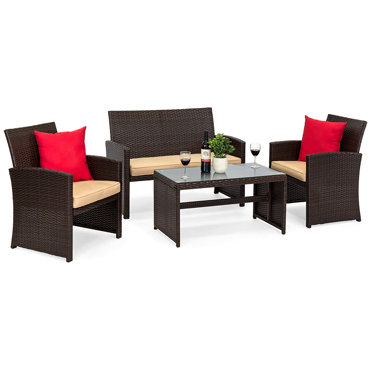 Amazon.com: Best Choice Products 4-Piece Wicker Patio Furniture Set  w/Tempered Glass, 3 Sofas, Table, Cushioned Seats - Brown: Garden & Outdoor - Amazon.com: Best Choice Products 4-Piece Wicker Patio Furniture Set