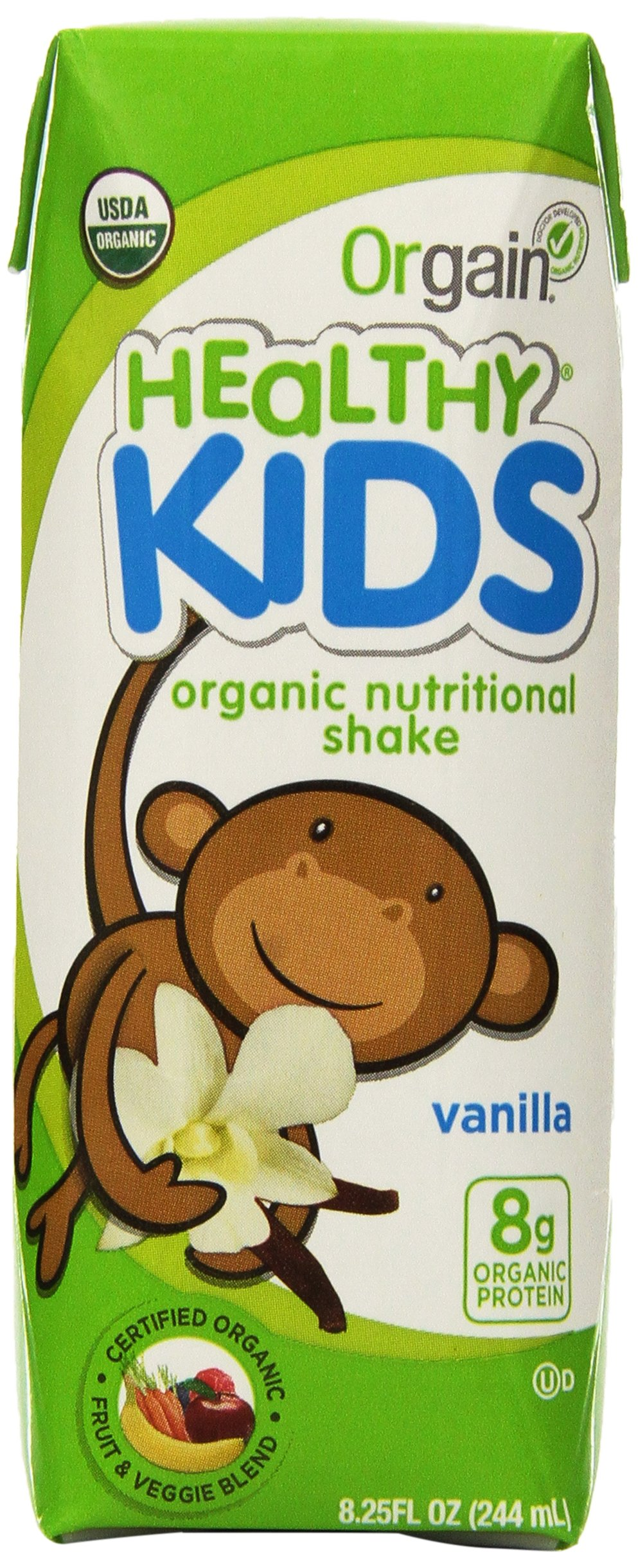 Orgain Healthy Kids Organic Nutritional Shake, Vanilla, 8.25 Fluid Ounce