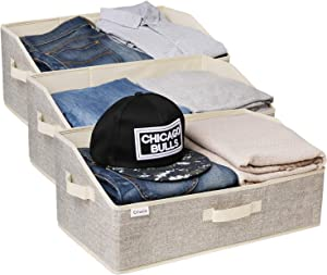 Trapezoid Storage Bins, Foldable Bin Collapsible Cube for Closet Organizer Shelf Cabinet Bookcase, Trapezoid Storage Bins, 3 Pack,Beige