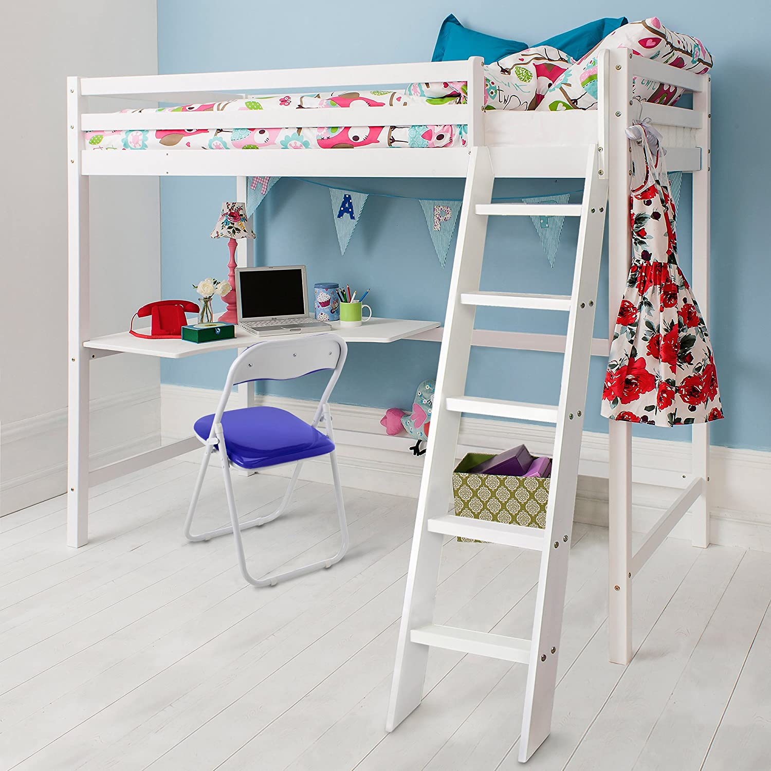 cabin bed high sleeeper with desk in white  bunk bed   high sleeper w high sleeper bed with black futon desk and 2 shelves  3ft single      rh   amazon co uk