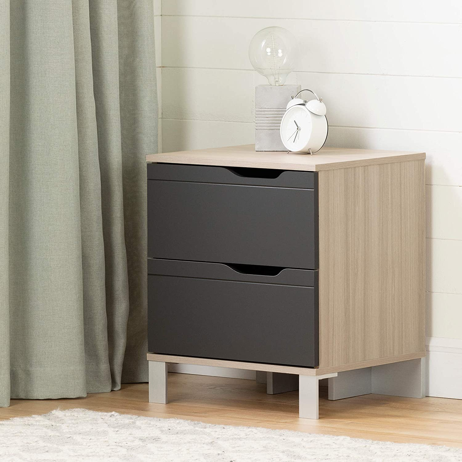 South Shore Kanagane 2-Drawer Nightstand-Soft Elm and Matte Charcoal