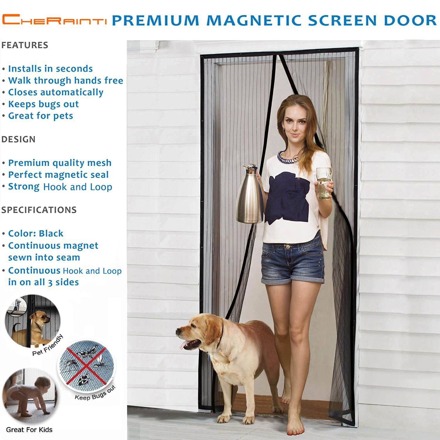 Magnetic screen door hands free mesh curtain with full frame magnetic screen door hands free mesh curtain with full frame hook loop and push pins fly mosquito insects bug proof for sliding glass doors french vtopaller Image collections