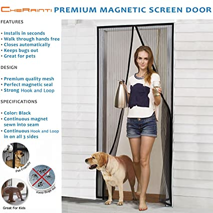 Magnetic Screen Door - Hands Free Mesh Curtain with Full Frame Hook u0026 Loop and Push  sc 1 st  Amazon.com & Magnetic Screen Door - Hands Free Mesh Curtain with Full Frame Hook ...