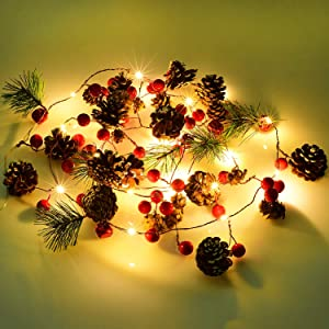DearHouse 6.7FT Christmas Garland with Lights, 20 LED Red Berry Pine Cone Garland Lights Battery Operated, led Garland String Lights, Christmas Decorations for Home, Garland for Fireplace