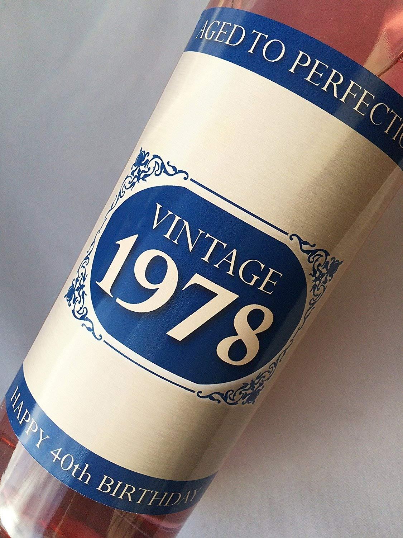 1978vintage Bleu Happy 40e anniversaire 2018étiquette de bouteille de vin Cadeau pour homme et femme Purple Products