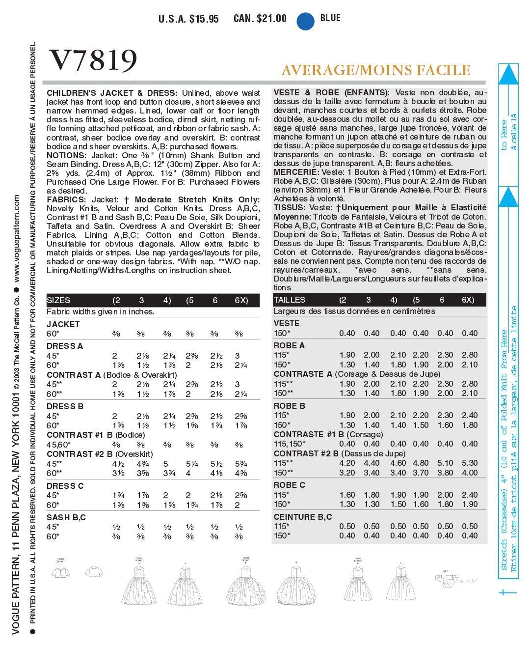 Vogue 7819 - Patrones de costura para vestido de niña (instrucciones en  inglés y alemán)