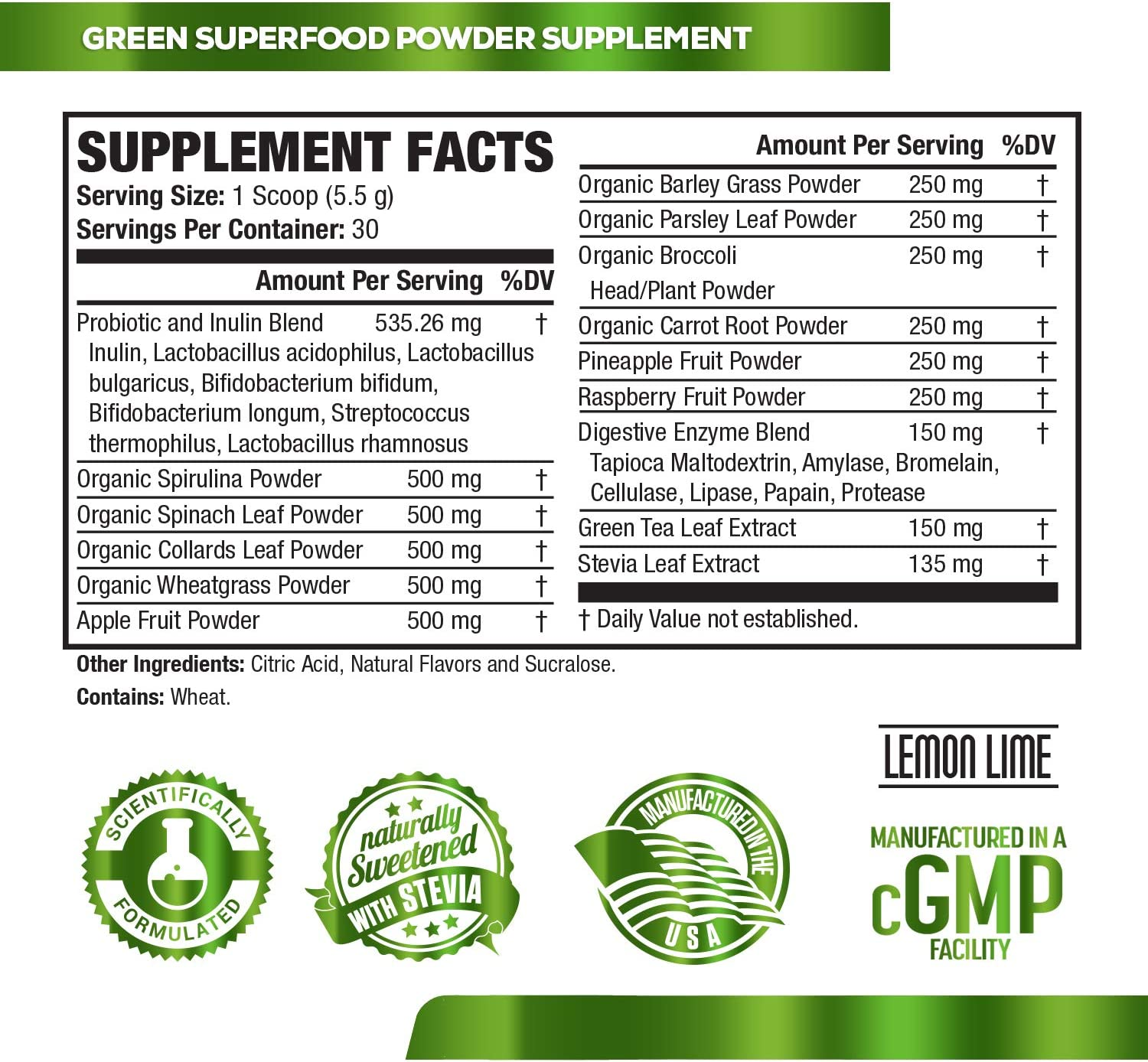 Green Surge Green Superfood Powder Supplement - Keto Friendly Greens Drink w/Spirulina, Wheat & Barley Grass, Organic Greens - Green Tea Extract, Probiotics & Digestive Enzymes - Lemon Lime - 30sv: Health & Personal Care