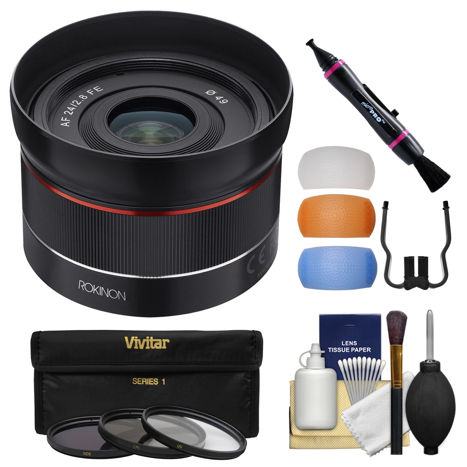 Rokinon 24mm f/2.8 Autofocus Full Frame Lens with Filters + Cleaning Kit for Sony Alpha E-Mount/FE Camera by Rokinon