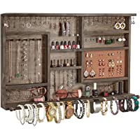 X-cosrack Wall Mounted Large Rustic Jewelry Organizer with Removable Bracelet Rod