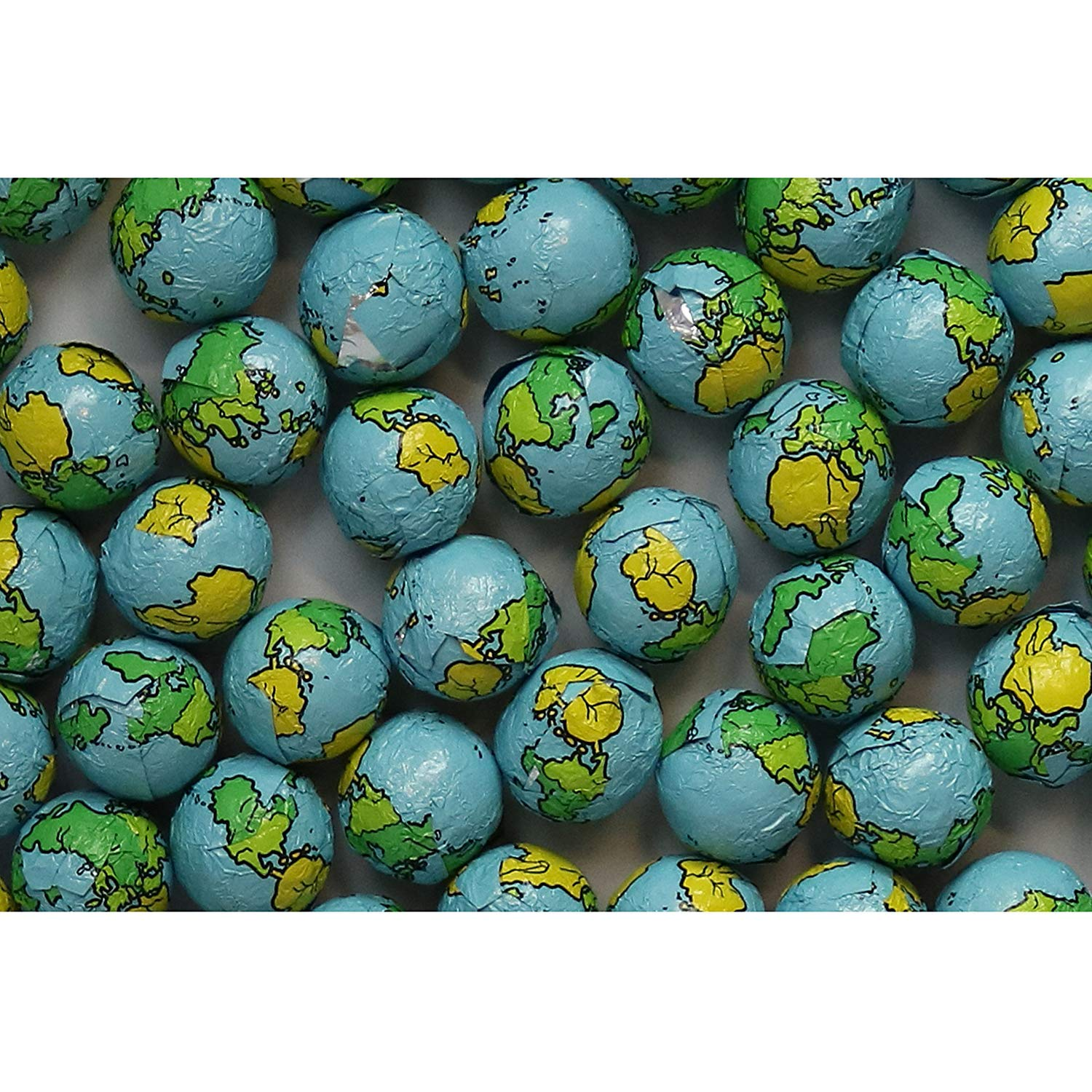 FirstChoiceCandy World Globe Foiled Chocolate Earth Balls 2 Pound Resealable Bag