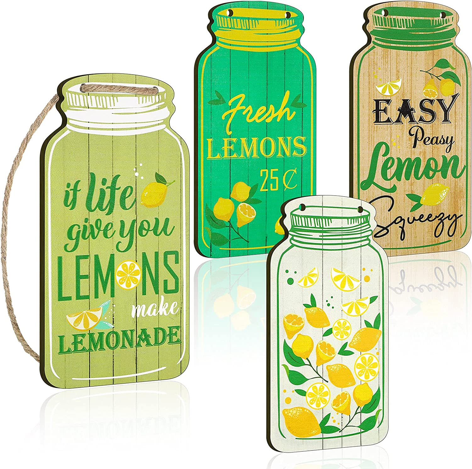 4 Pieces Mason Jar Wall Hanging Plaque Lemon Wooden Tiered Tray Decor Easy Peasy Lemon Squeezy Rustic Farmhouse Hanging Lemon Decor Sign for Home Living Room Coffee Bar Kitchen Office Housewarming