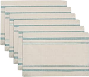 DII 100% Cotton Everyday French Stripe Tabletop Collection, Placemat Set, Taupe/Teal 6 Count