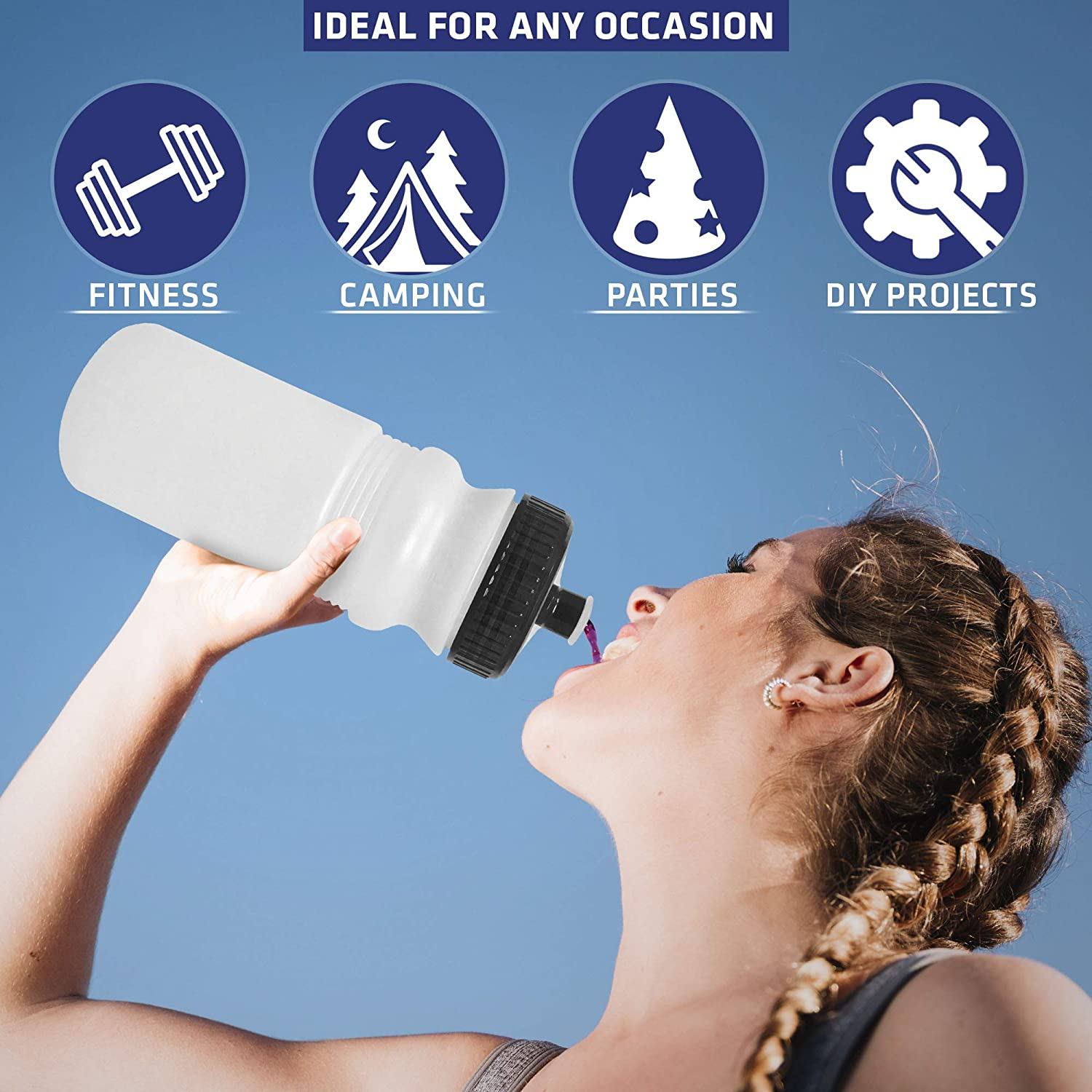 6 Pack Pull Top Leakproof Drink Spout Fundraises or Fitness Blank DIY Customization for Business Branding Reusable No BPA Plastic CSBD 20 oz Sports Water Bottles