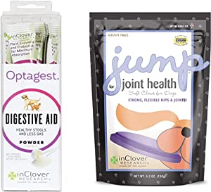 In Clover Optagest Daily Digestive Immune Support for Dogs and Cats (0.5 Oz) & Jump Soft Chews for Daily Joint Care and Endurance Support for Dogs (5.3 Oz)