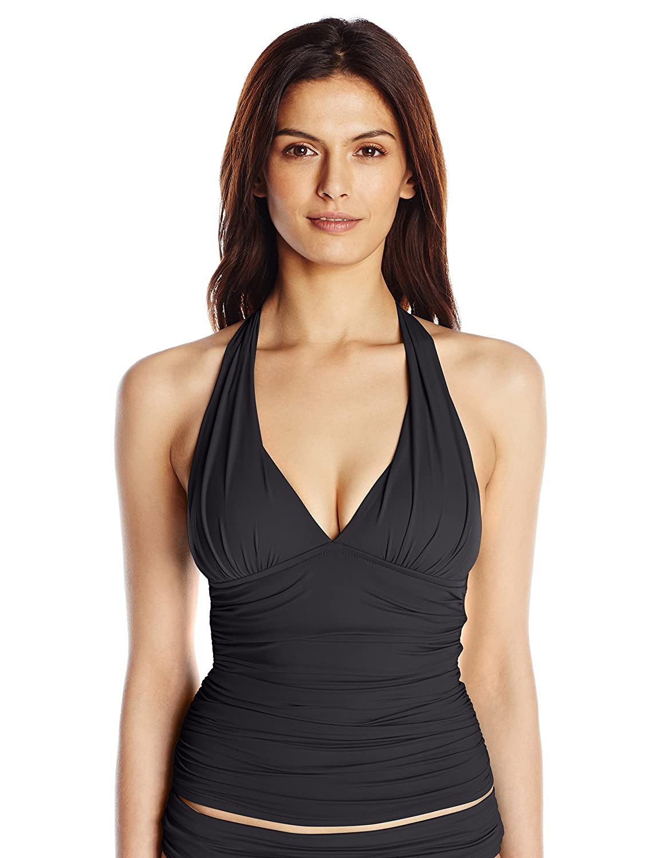 La Blanca Womens Island Goddess Rouched Front Halter Tankini Swimsuit Top