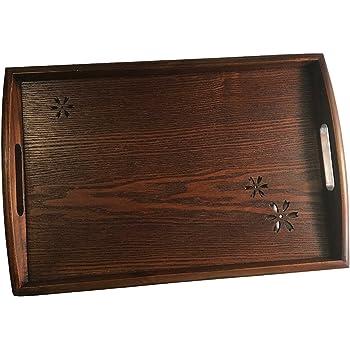 Amazon Com Dark Brown Wooden Serving Tray Handles For