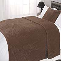 Dreamscene Luxury Waffle Honeycomb Soft Warm Throw Over Sofa Bed Blanket - 125 x 150cm - Chocolate Brown