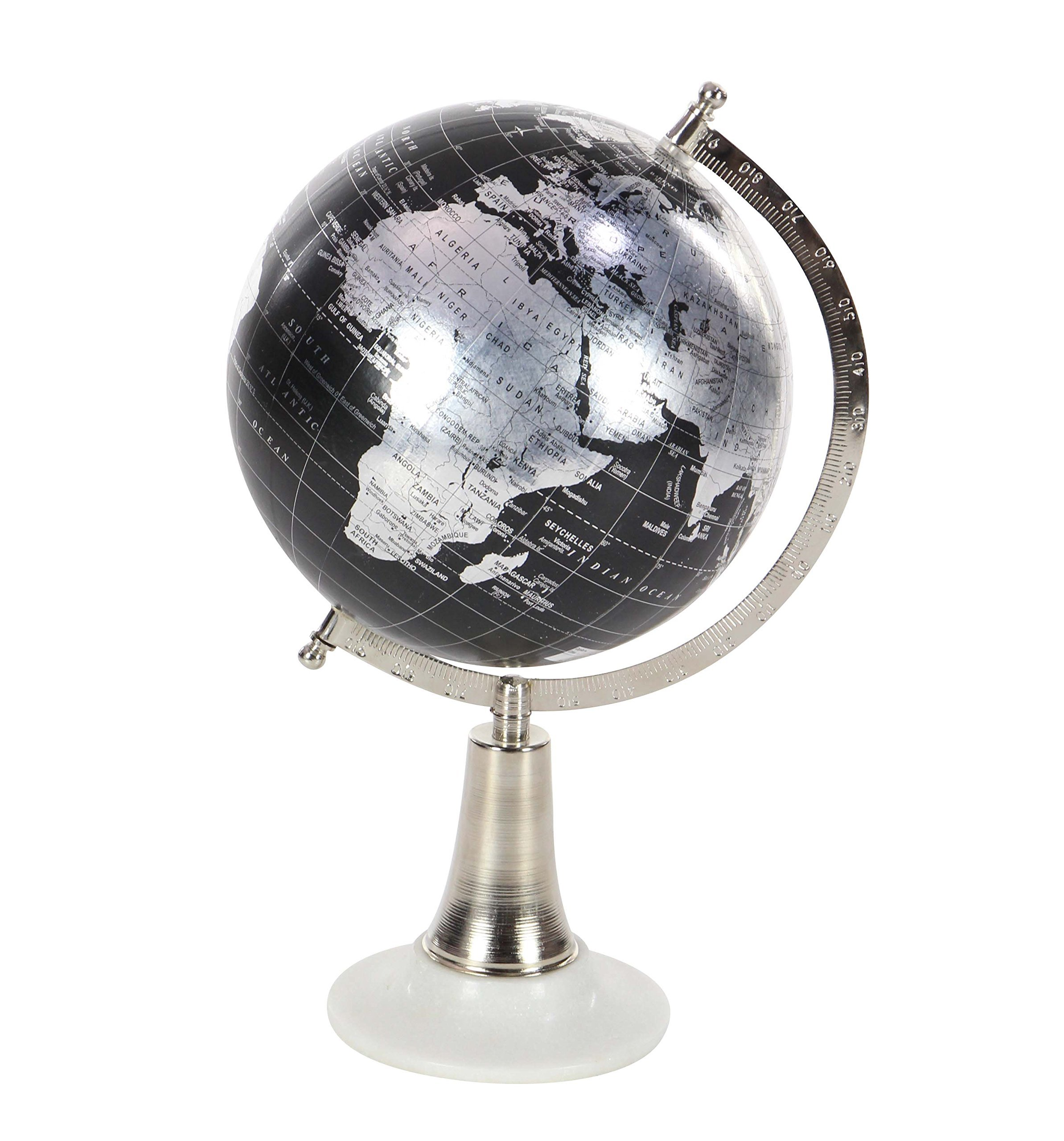Deco 79 94510 Decorative Globe with Iron and Marble Stand, 15'' x 8'', Silver/Black/White