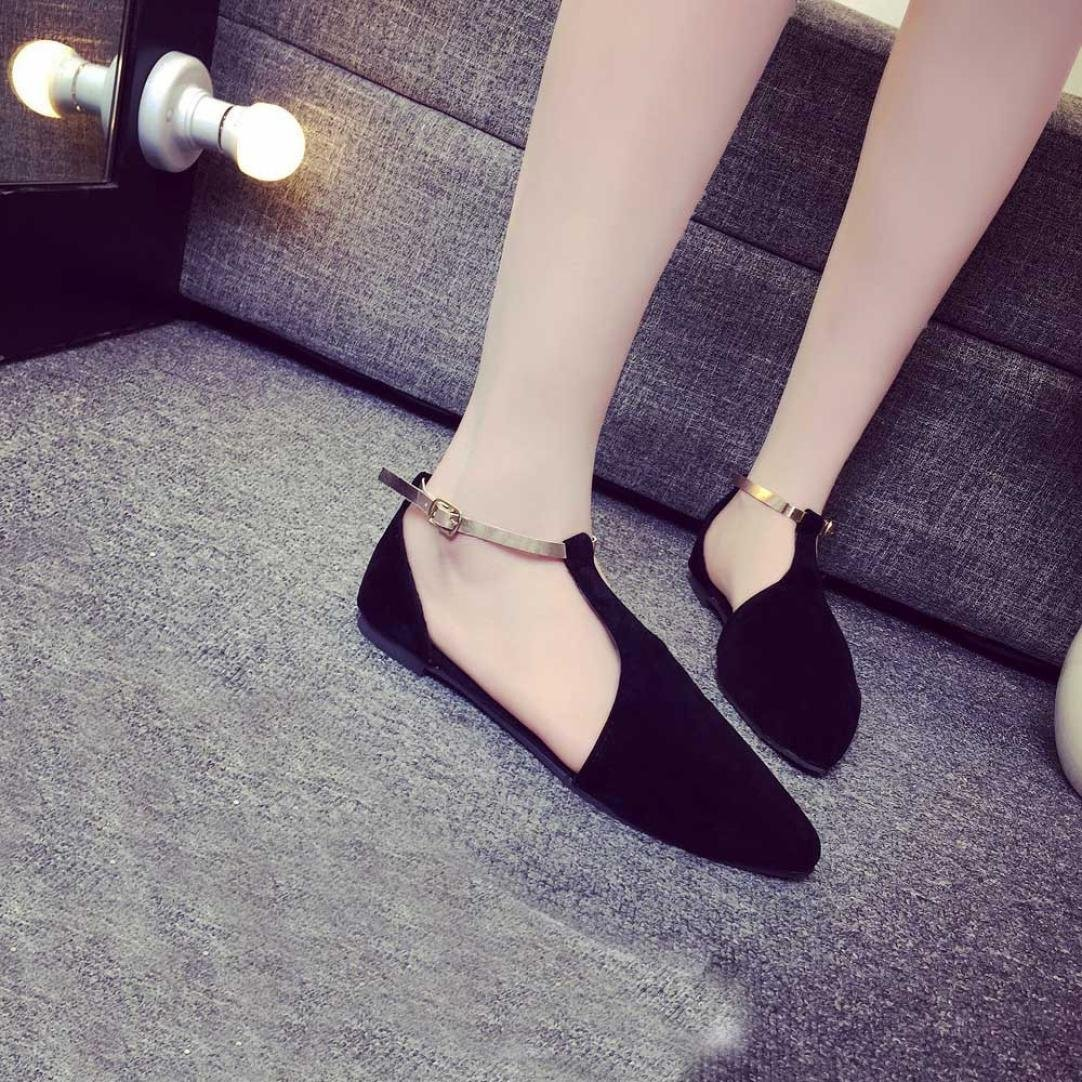 UPLOTER Sandals, Fashion Women Shoes Pointed Toe Slip-On Flat Shoes Comfortable Flats Sandals B072P1CP14 7 B(M) US|Black