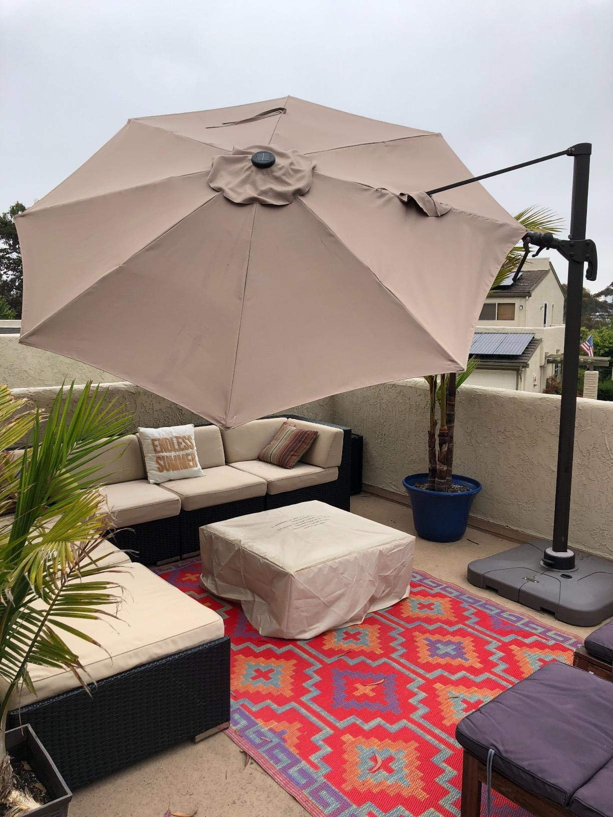 Formosa Covers Replacement Umbrella Canopy for 11ft 8 Rib Supported bar Cantilever Market Outdoor Patio Shades in Taupe Ribs Length 64'' to 66'' (Canopy Only) by Formosa Covers (Image #5)