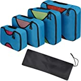 Packing Cubes - 4pc Set Travel Organizers with Laundry Bag, Camping Backpacking Organisers Luggage Backpack Bag (Blue)
