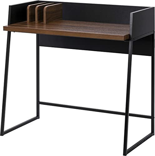Spirich Home Office Desk, Spirich Computer Desk Modern Simple Style Home Office Desk 35.4 Writing Study Table with Bookshelves Modern Steel Frame Wood Desk for Compact Home Office Workstation Table