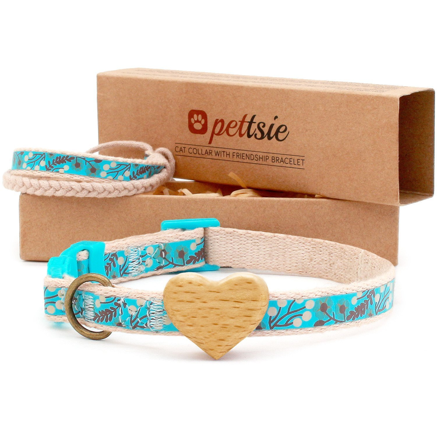 Turquoise Pettsie Cat Collar Breakaway Safety with Heart and Friendship Bracelet for You, Natural and Soft 100% Cotton for Extra Comfort, Strong and Durable, Easy Adjustable Size 8-11, Turquoise