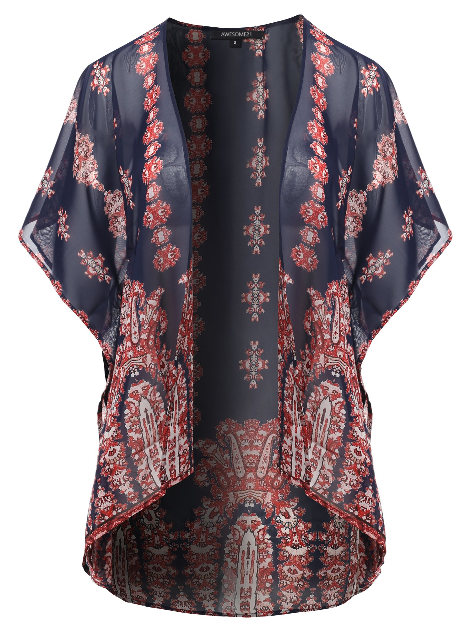 Awesome21 Floral Print Chiffon Kimono Style Cardigan Navy Size 3XL