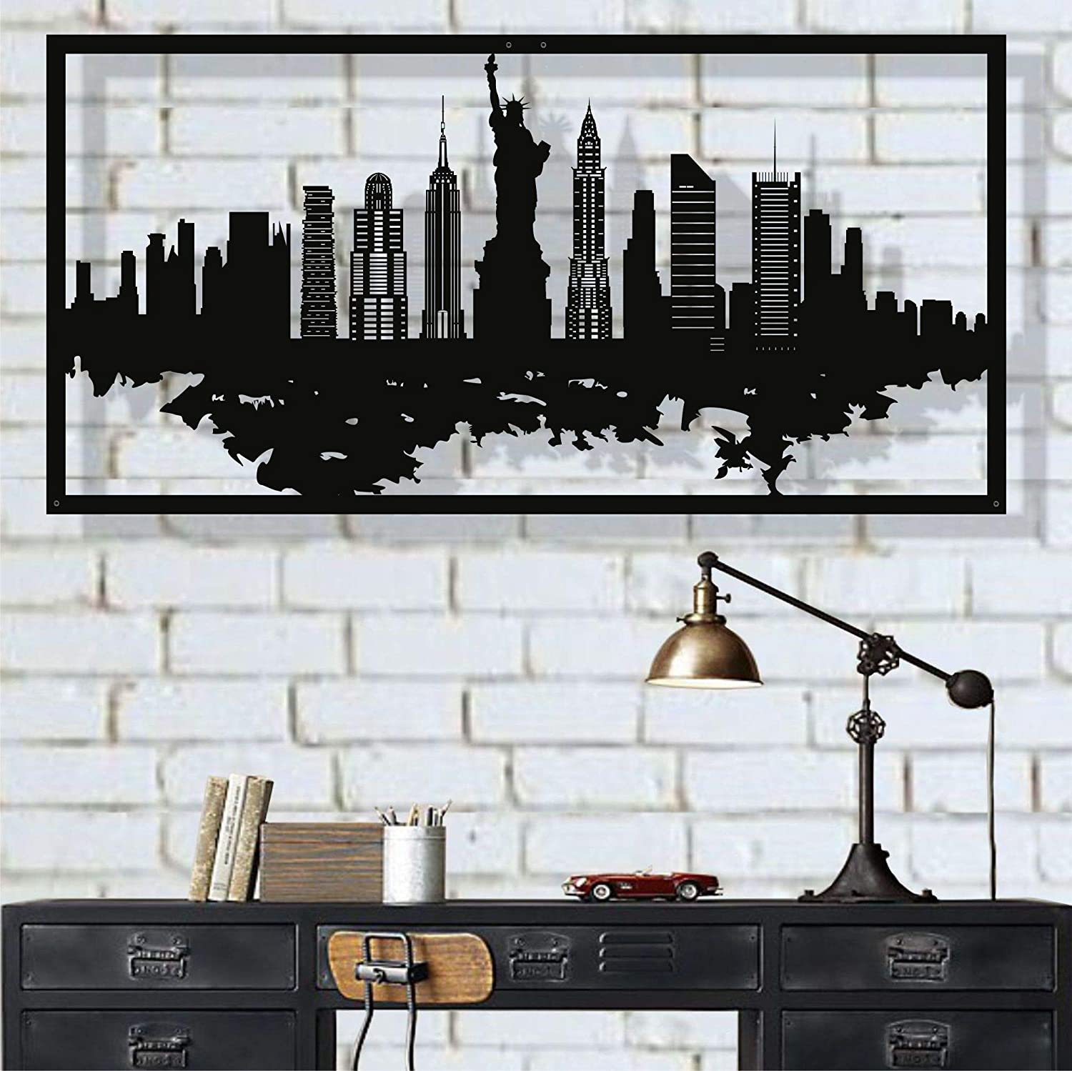 Metal Wall Art, New York Skyline City Silhouette, Metal Wall Decor, Home Office Decor, Living Room Decoration, Housewarming Gift (46