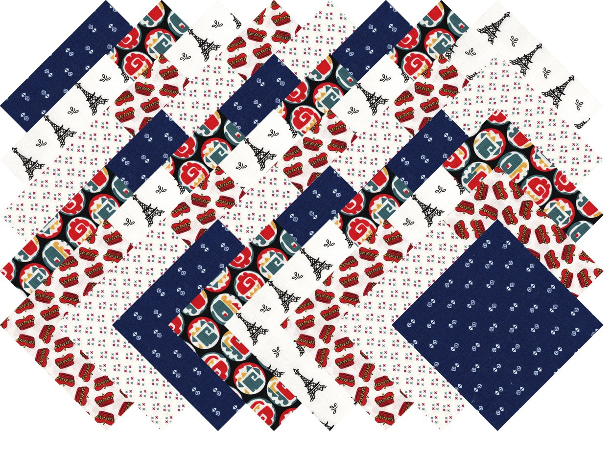 Blue Red White Collection 40 Precut 5-inch Quilting Fabric Charm Squares Ducat Direct