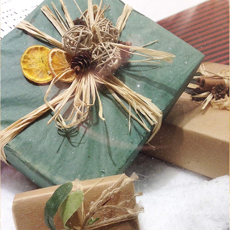 SpiffyJack Lot de 2 Paquets de Fleurs de Raphia Naturel pour couronnes et d/écoration de Jardin ou travaux manuels Bouquets et Bricolage