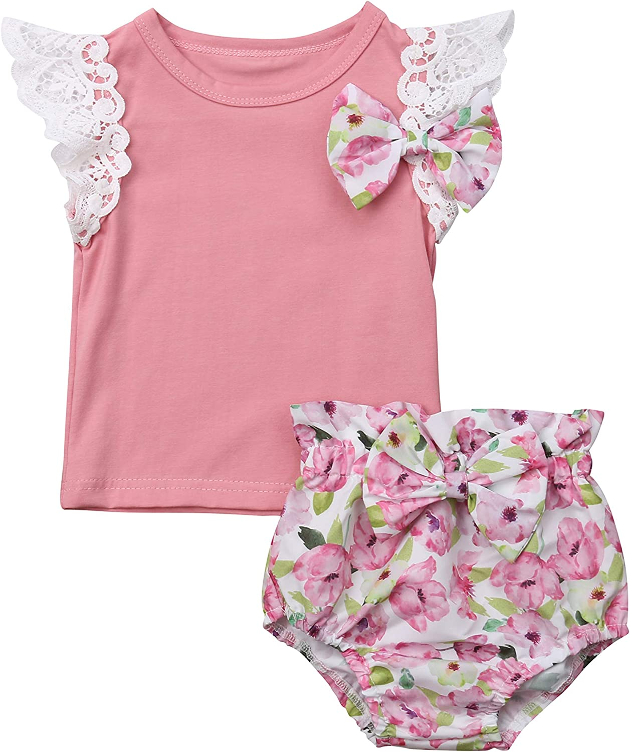 2PCS Kids Baby Girl Lace Ruffle T-Shirts Tops+Shorts Pants Bottom Summer Clothes with Bow