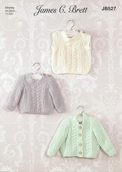 16a4029a4 James Brett Flutterby Chunky Knitting Pattern Baby Sweater Cardigan ...