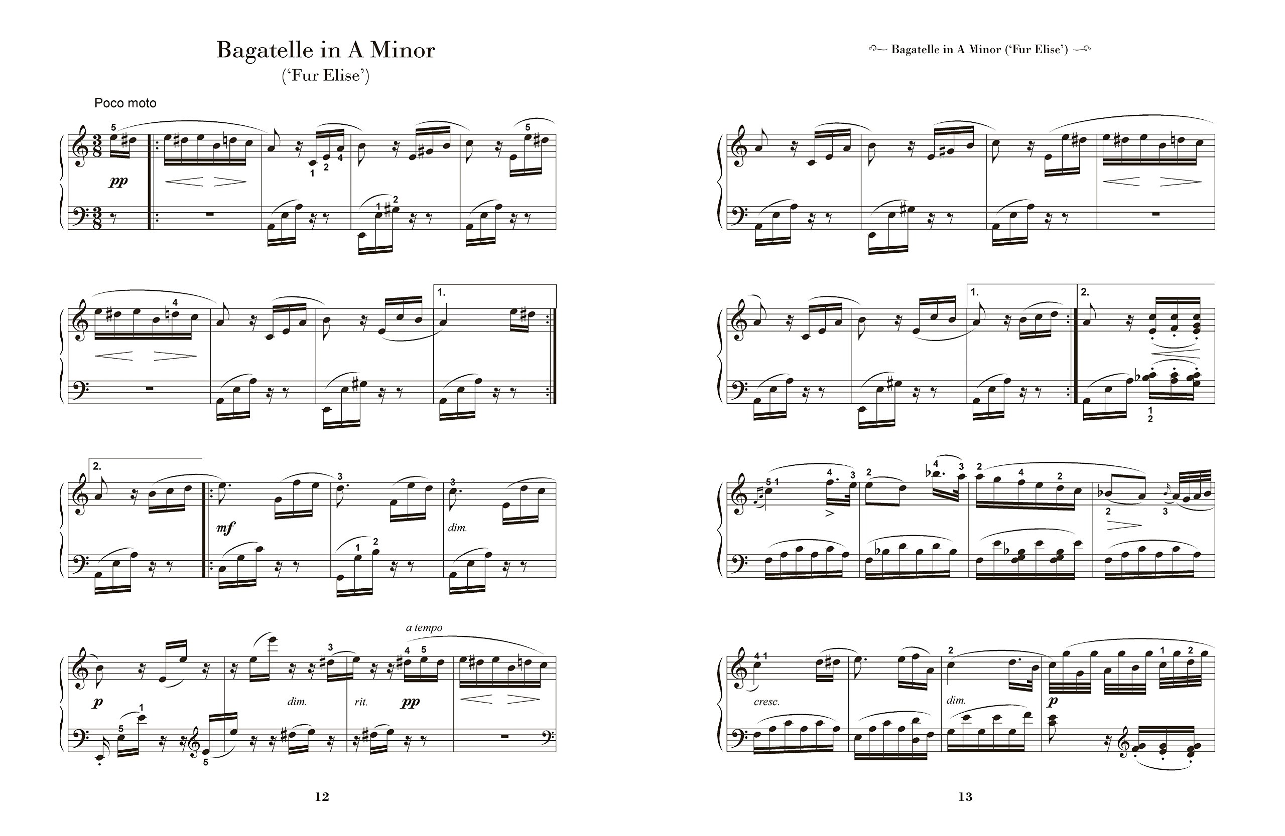 Ludwig Van Beethoven: Sheet Music for Piano: From Easy to