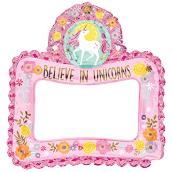 Magical Unicorn Inflatable Photo Frame Selfie Prop Girls Kids Birthday Party