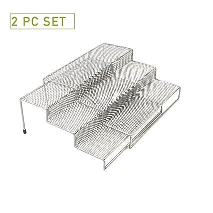 Mind Reader 3 Tier Metal Mesh Kitchen Storage Organizer 2 Pcs Silver