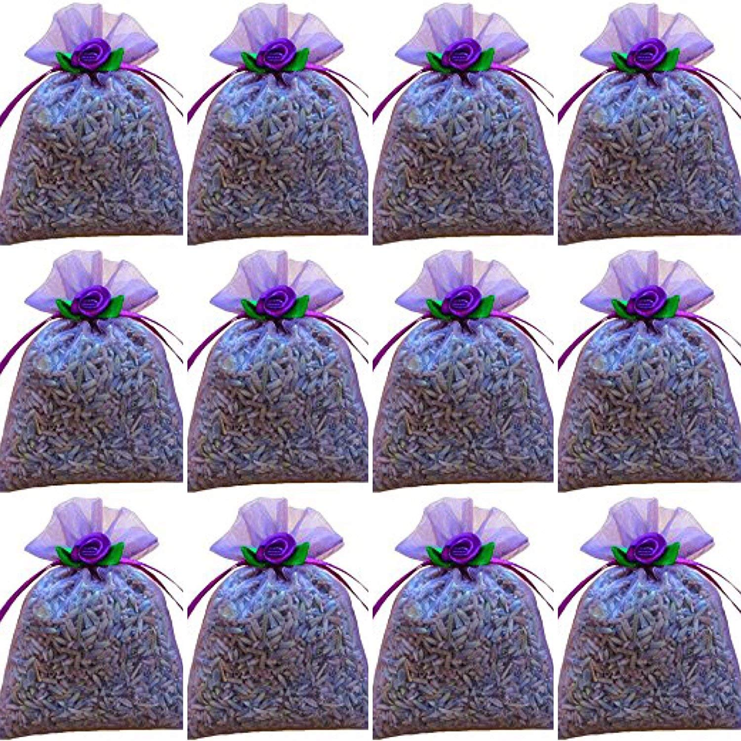 100 Lavender Filled Sachets - Perfect for Special Events - Handmade by Zziggysgal (Lavender with Satin Rosettes) by zziggysgal (Image #1)
