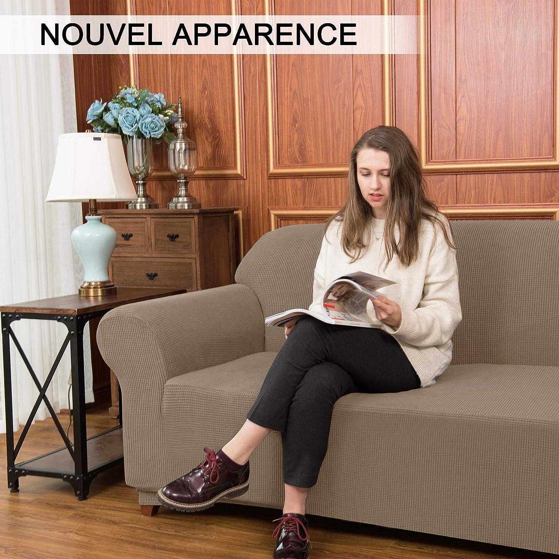Schutz 2-Sitzer Subrtex Sofabezug mit Armlehnen Sofa ausziehbar elastisch Sand