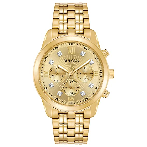 Amazon.com: Bulova Mens Goldtone Chronograph Watch, Diamond Accents: Bulova: Watches